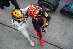 Race winner Lewis Hamilton, Mercedes AMG F1, Max Verstappen, Red Bull, second place, congratulate each other in Parc Ferme