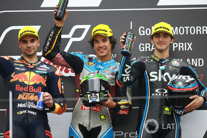 Podium: ganador, Franco Morbidelli, Marc VDS, segundo,  Miguel Oliveira, Red Bull KTM Ajo, tercero, Francesco Bagnaia, Sky Racing Team VR46