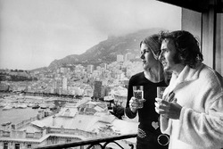 Jackie Stewart, celebrates with his wife Helen after his win