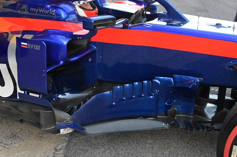 Les pontons de la voiture de Daniil Kvyat, Toro Roso STR14