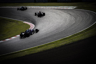Valtteri Bottas, Mercedes AMG F1 W09 EQ Power+, leads Max Verstappen, Red Bull Racing RB14, and Brendon Hartley, Toro Rosso STR13