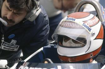 Nelson Piquet, Brabham BT50-BMW con el diseñador Gordon Murray