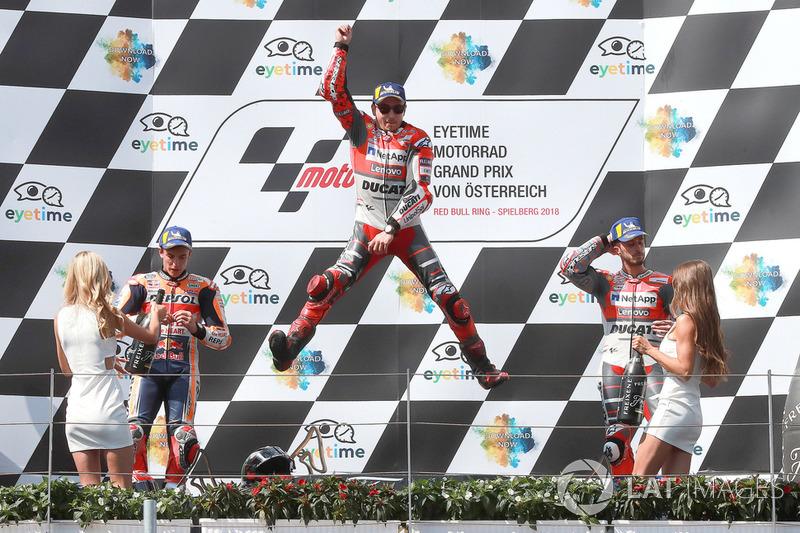 Podio: 1º Jorge Lorenzo, Ducati Team, 2º Marc Marquez, Repsol Honda Team, 3º Andrea Dovizioso, Ducati Team