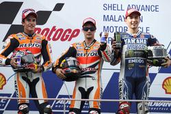 Podium: Race winner Dani Pedrosa, Repsol Honda; second place Marc Marquez; third place Jorge Lorenzo, Yamaha