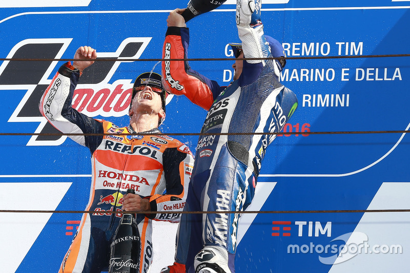 Race winner Dani Pedrosa, Repsol Honda Team, third place Jorge Lorenzo, Yamaha Factory Racing