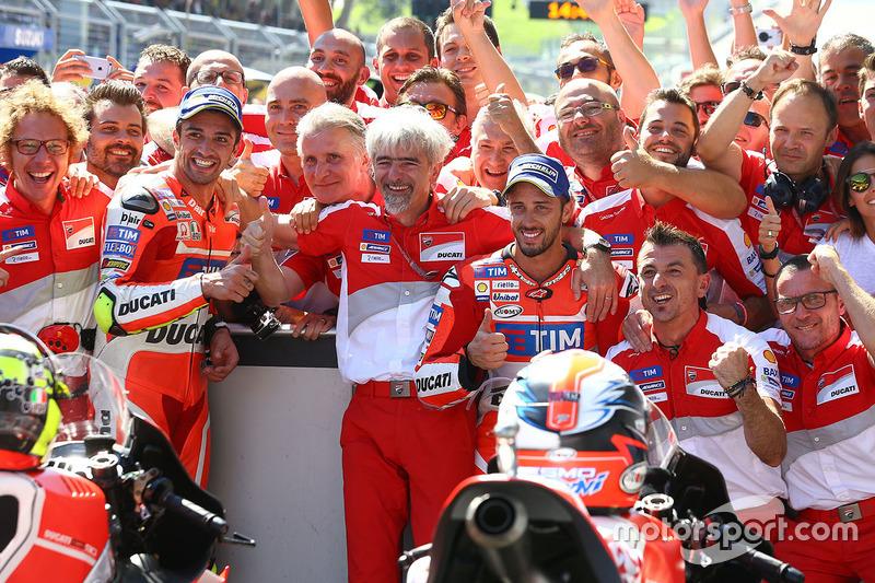 Winner Andrea Iannone, Ducati Team, second place Andrea Dovizioso, Ducati Team and Gigi Dall'Igna, Ducati Team General Manager