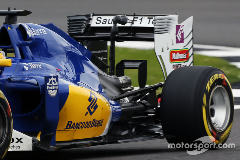 Sauber C35, rear wing and monkey seat