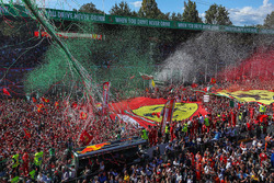 Ferrari Fans and flags at the podium celebrations