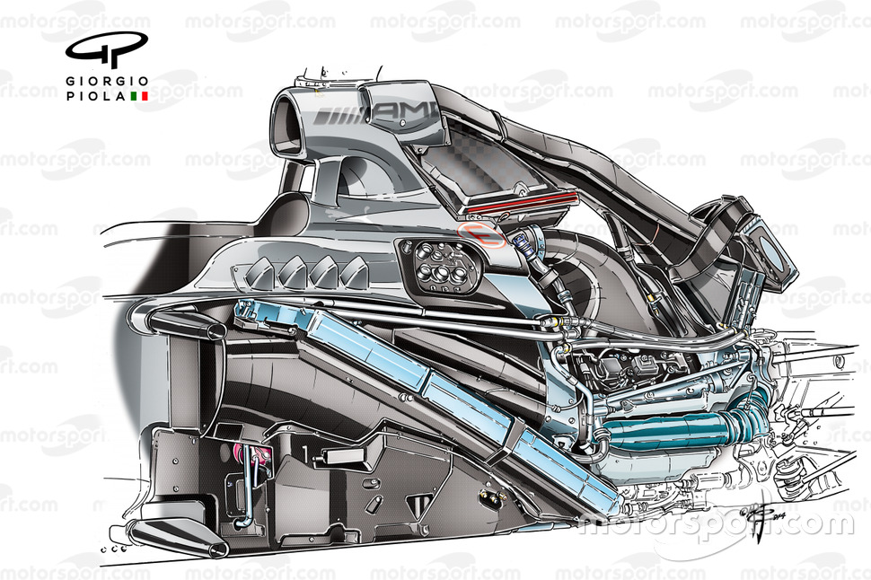 Mercedes W05 showing PU106 powerunit installation