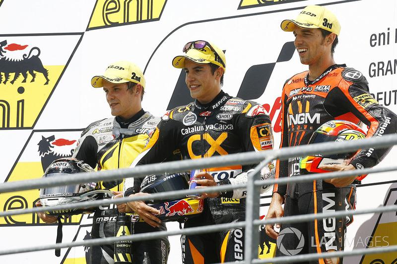 Podium : 1er Marc Márquez, 2e Stefan Bradl, 3e Alex De Angelis