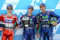 Polesitter Maverick Viñales, Yamaha Factory Racing, second place Jorge Lorenzo, Ducati Team, third place Valentino Rossi, Yamaha Factory Racing