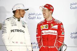 Podium: race winner Sebastian Vettel, Ferrari, second place Lewis Hamilton, Mercedes AMG F1