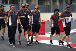 Romain Grosjean, Haas F1 Team, makes a track walk, colleagues