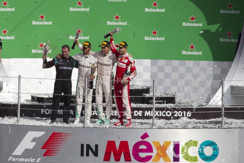 2016: 1. Lewis Hamilton, 2. Nico Rosberg 3. Sebastian Vettel (luego fue penalizado, el tercero fue Daniel Ricciardo).