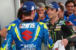 Tercer puesto Alex Rins, Equipo Suzuki MotoGP, Segundo puesto Johann Zarco, Monster Yamaha Tech 3