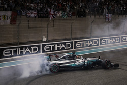 Lewis Hamilton, Mercedes-Benz F1 W08  performs donuts in parc ferme