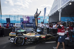 Jean-Eric Vergne, Techeetah, celebrates in Parc Ferme after winning the championship