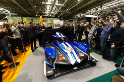 The Ginetta LMP1 car is unveiled, Graeme Lowdon and Ginetta boss Lawrence Tomlinson pulls the covers back