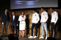 Jake Humphrey, Paddy Lowe, Claire Williams, Lance Stroll, Sergey Sirotkin and Robert Kubica on stage at the launch of the FW41