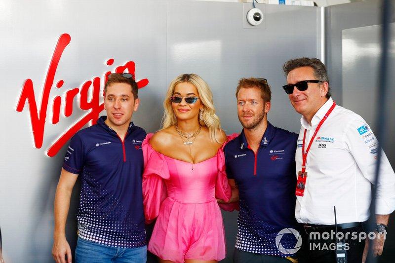 La cantante Rita Ora incontra Robin Frijns, Envision Virgin Racing, Sam Bird, Envision Virgin Racing, Audi e-tron FE05, Alejandro Agag, CEO, Formula E