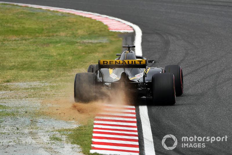 Ніко Хюлькенберг, Renault Sport F1 Team R.S. 18, розвертає болід та розбиває