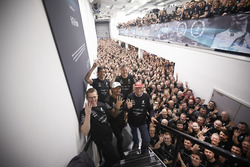Lewis Hamilton, Mercedes AMG F1, Niki Lauda, Non-Executive Chairman, Mercedes AMG F1, Toto Wolff, Executive Director Mercedes AMG F1 with all team members