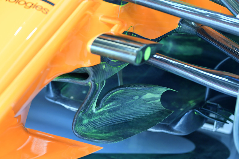 McLaren MCL33 front suspension and aero detail with aero paint