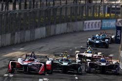 Felix Rosenqvist, Mahindra Racing, leads Oliver Turvey, NIO Formula E Team, Sam Bird, DS Virgin Racing