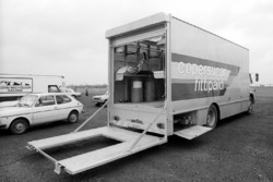 The Copersucar Fittipaldi transporter in the paddock