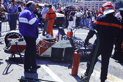 The destroyed car of Alex Caffi, Footwork FA12 Porsche