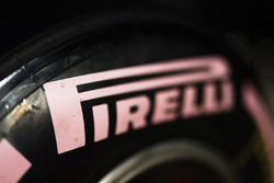 Pirelli tyres with pink markings in support of raising awareness of breast cancer