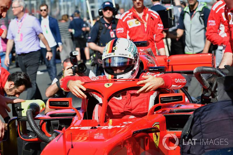 Sebastian Vettel, Ferrari SF71H sur la grille