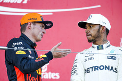 Max Verstappen, Red Bull, second place, Race winner Lewis Hamilton, Mercedes AMG F1, on the podium