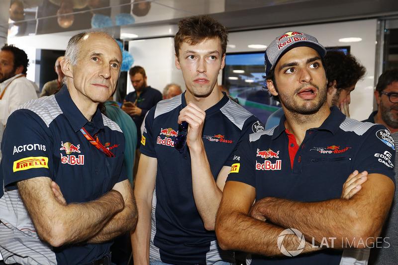 Franz Tost director Scuderia Toro Rosso, Daniil Kvyat, Scuderia Toro Rosso, Carlos Sainz Jr., Scuder