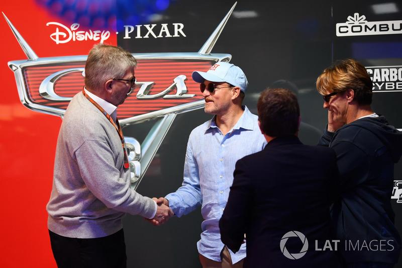 Ross Brawn, Formula One Managing Director of Motorsports, Kate Beavan, FOM and Woody Harrelson, Actor
