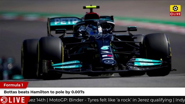 F1: Bottas beats Hamilton to pole by 0.007s