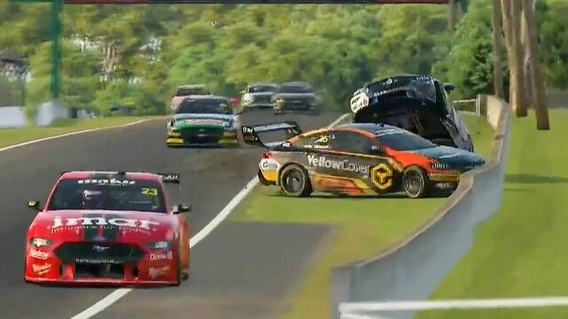 Supercars All Stars Eseries - Mount Panorama Race 2 Jacobson and Whincup crash