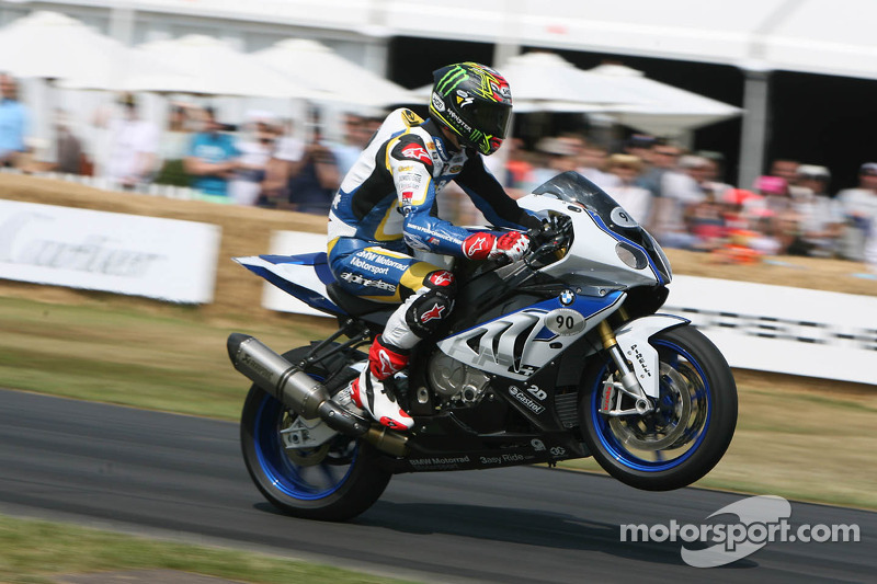 Chaz Davies rides the BMW HP4 at Goodwood