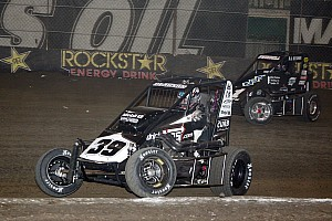 Midget Race report Saldana gets by Clauson, Stenhouse for POWRi midget win