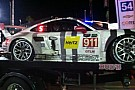 Porsche factory cars collide during the night in Rolex 24