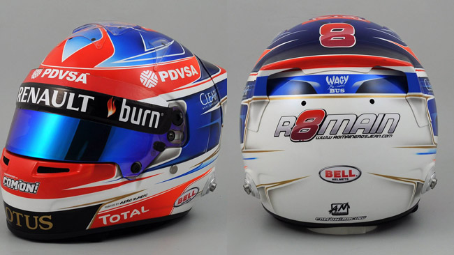 Il nuovo casco di Grosjean è rosso, bianco e blu