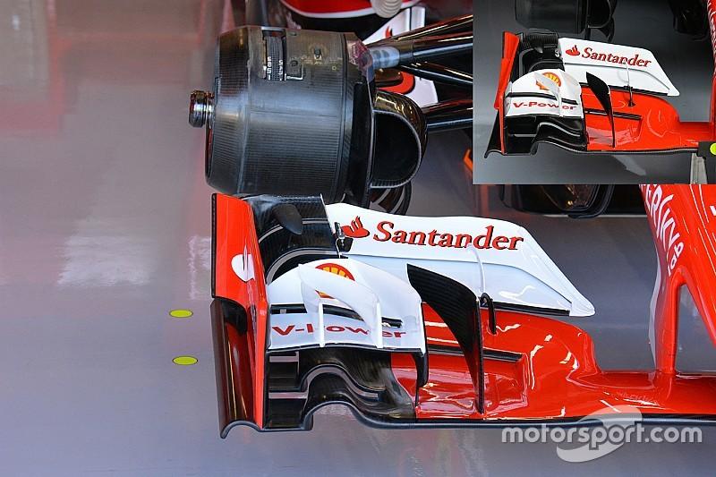 Ferrari: rinforzato il pilone dall'ala anteriore