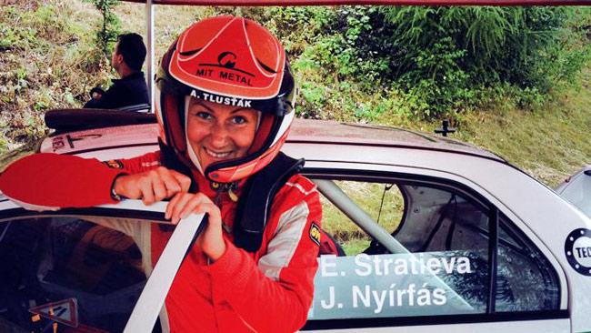 La Stratieva a Zlín con una Mitsubishi Lancer Evo IX