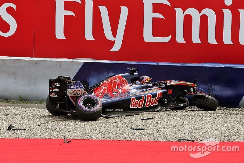 Ophanging-drama dreigt voor F1 na crash Kvyat
