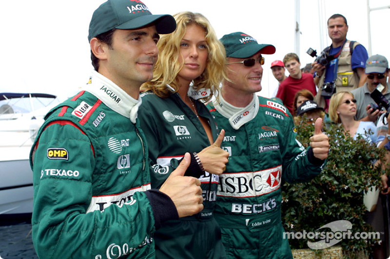 A happy Pedro de la Rosa, Rachel Hunter and a very very happy Eddie Irvine