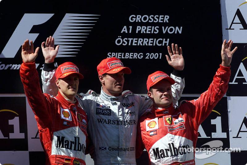 2001: 1. David Coulthard, 2. Michael Schumacher, 3. Rubens Barrichello