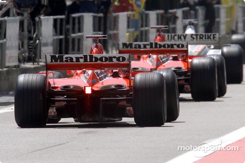 The two Ferrari cars