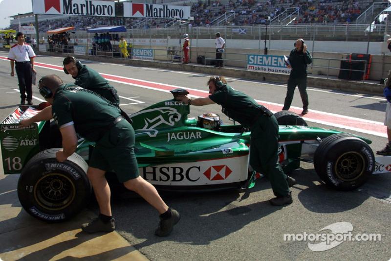 Eddie Irvine back in the pits
