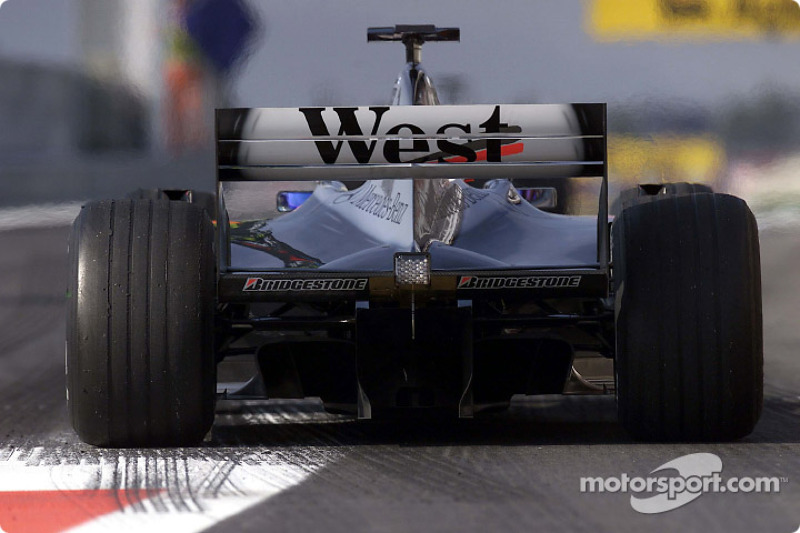 Mika Hakkinen at the pit exit