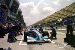 Práctica de pits para el Equipo Benetton